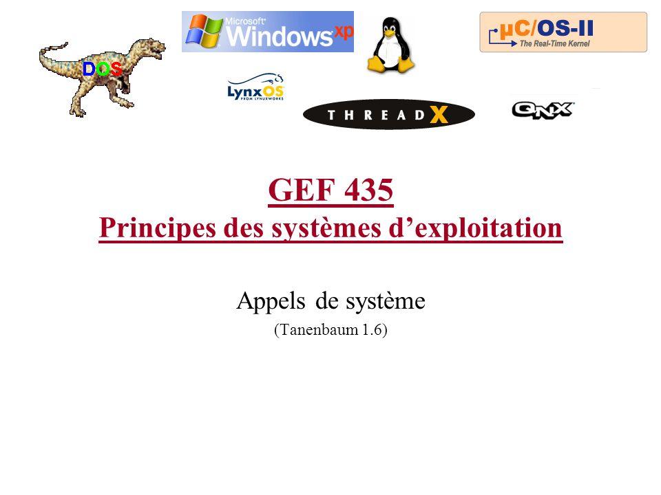 GEF 435 Principes des systèmes dexploitation Appels de système (Tanenbaum 1.6)