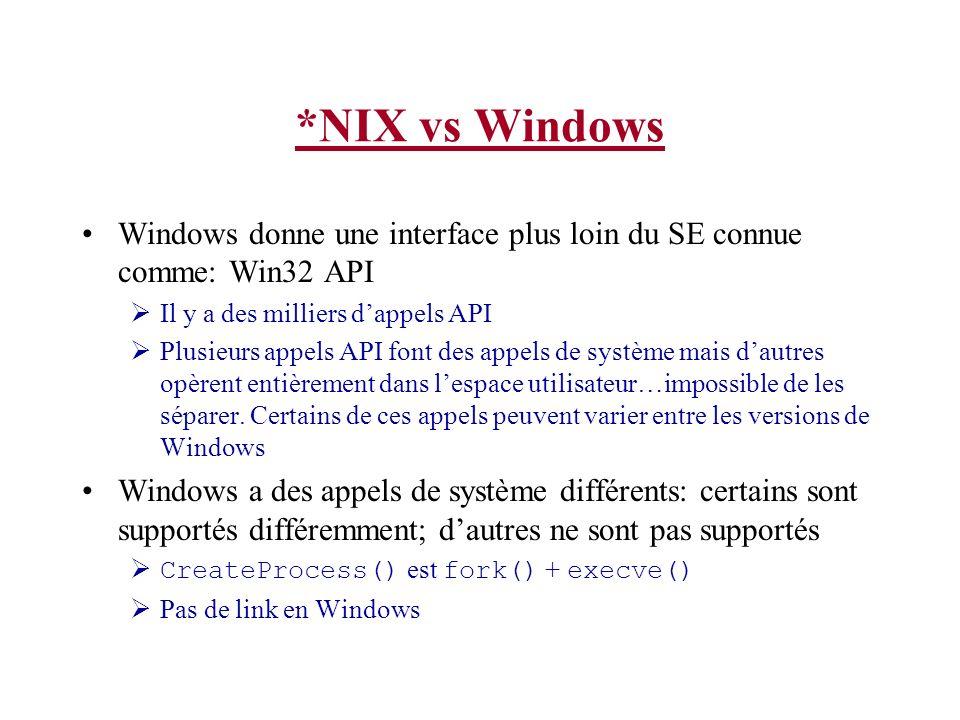 *NIX vs Windows Windows donne une interface plus loin du SE connue comme: Win32 API Il y a des milliers dappels API Plusieurs appels API font des appels de système mais dautres opèrent entièrement dans lespace utilisateur…impossible de les séparer.