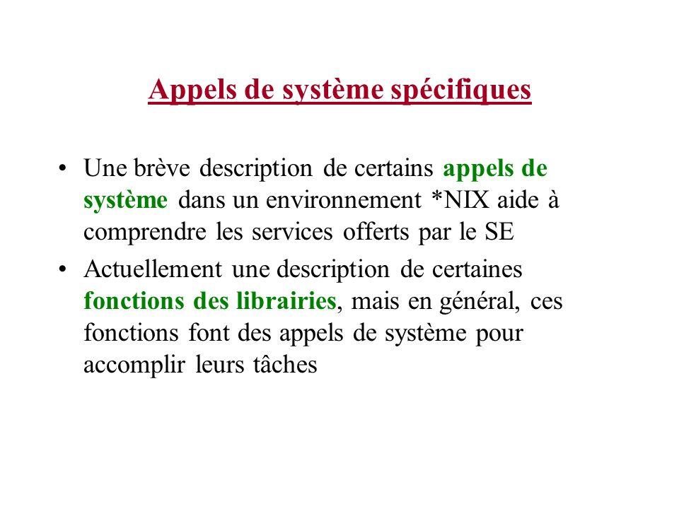 Appels de système spécifiques Une brève description de certains appels de système dans un environnement *NIX aide à comprendre les services offerts par le SE Actuellement une description de certaines fonctions des librairies, mais en général, ces fonctions font des appels de système pour accomplir leurs tâches