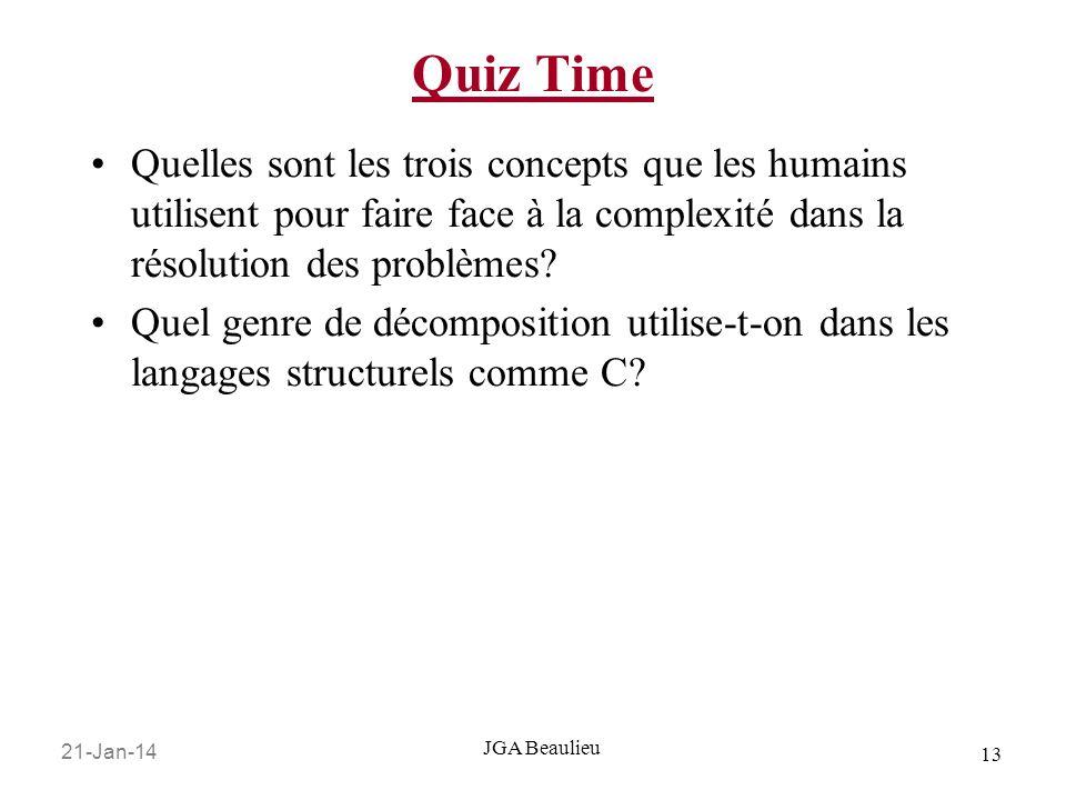 21-Jan-14 13 JGA Beaulieu Quiz Time Quelles sont les trois concepts que les humains utilisent pour faire face à la complexité dans la résolution des p