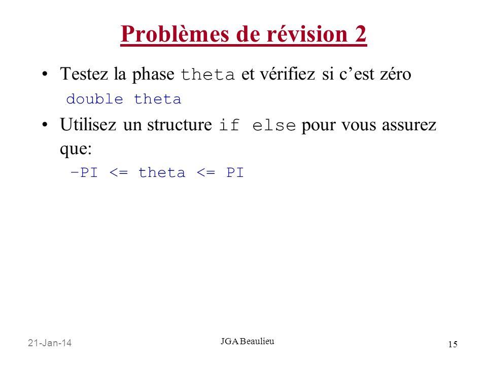 21-Jan-14 15 JGA Beaulieu Problèmes de révision 2 Testez la phase theta et vérifiez si cest zéro double theta Utilisez un structure if else pour vous