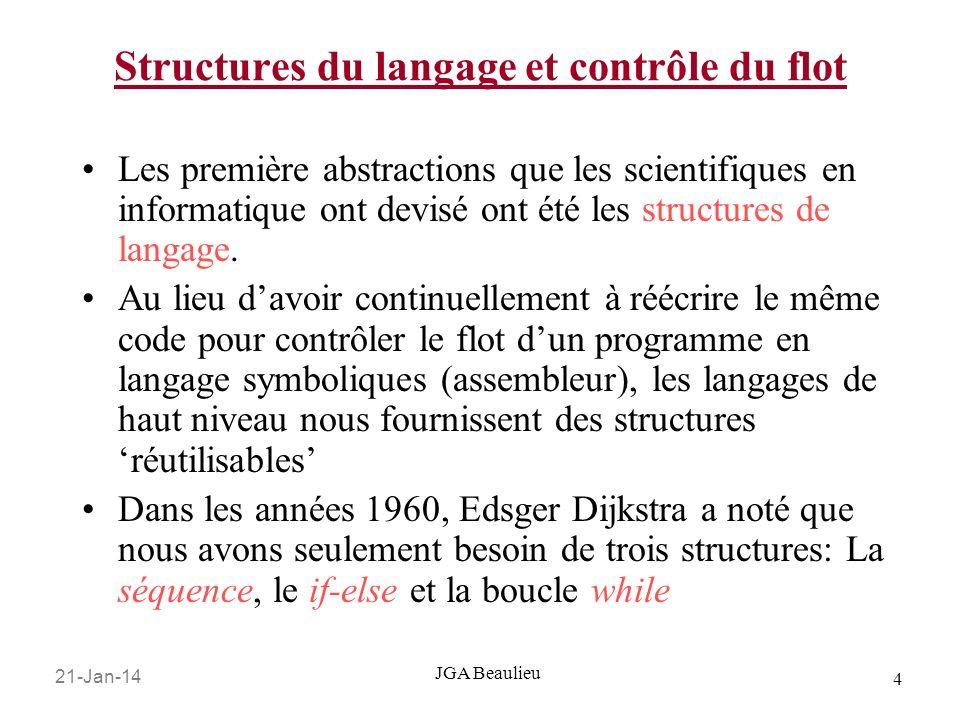 21-Jan-14 4 JGA Beaulieu Structures du langage et contrôle du flot Les première abstractions que les scientifiques en informatique ont devisé ont été