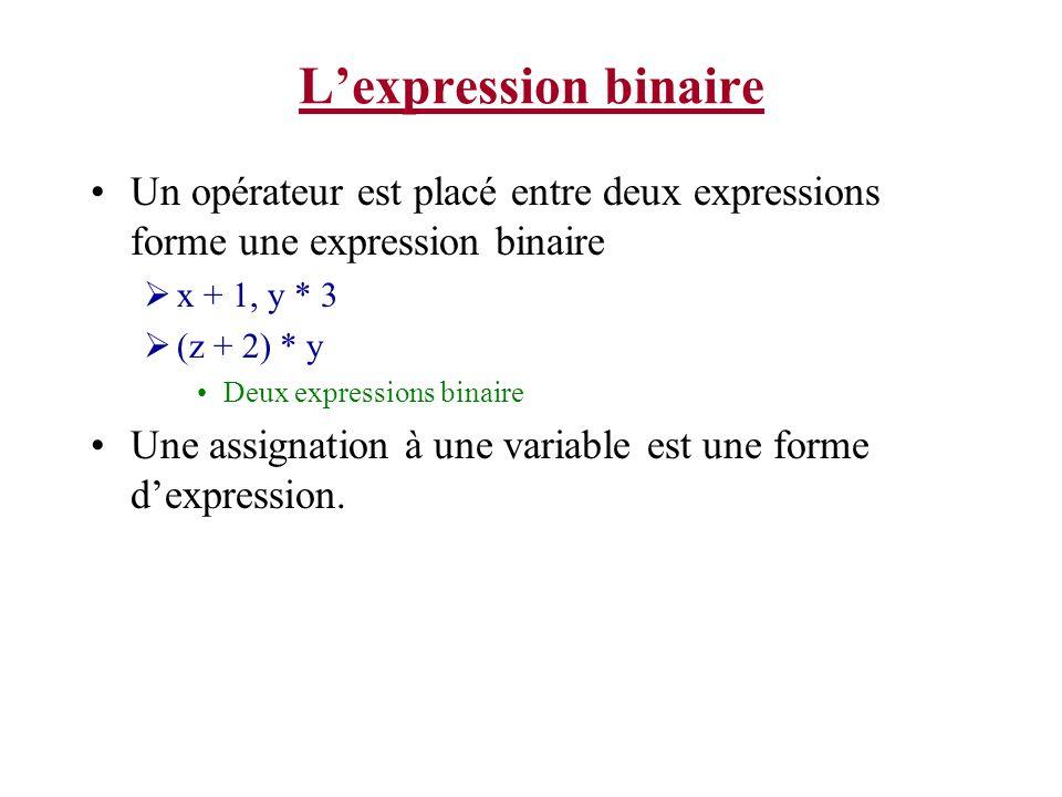 Lexpression binaire Un opérateur est placé entre deux expressions forme une expression binaire x + 1, y * 3 (z + 2) * y Deux expressions binaire Une a
