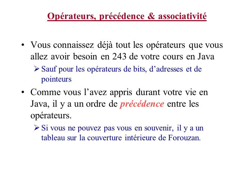 Opérateurs, précédence & associativité Vous connaissez déjà tout les opérateurs que vous allez avoir besoin en 243 de votre cours en Java Sauf pour le