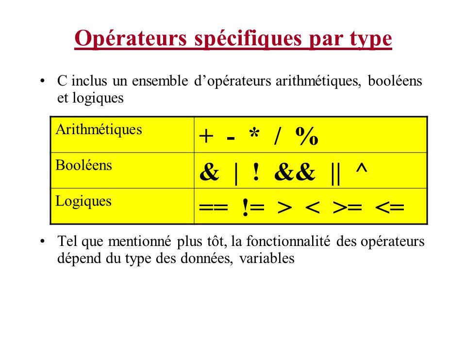 Opérateurs spécifiques par type C inclus un ensemble dopérateurs arithmétiques, booléens et logiques Tel que mentionné plus tôt, la fonctionnalité des