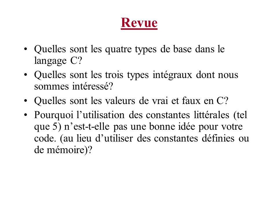 Revue Quelles sont les quatre types de base dans le langage C? Quelles sont les trois types intégraux dont nous sommes intéressé? Quelles sont les val
