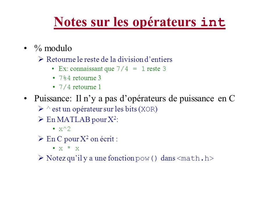 Notes sur les opérateurs int % modulo Retourne le reste de la division dentiers Ex: connaissant que 7/4 = 1 reste 3 7%4 retourne 3 7/4 retourne 1 Puis