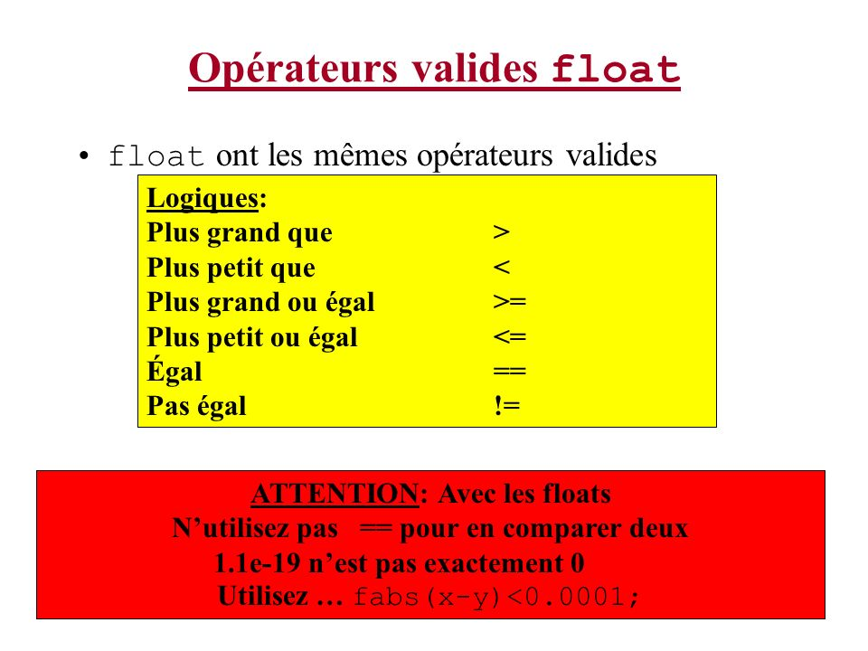 Opérateurs valides float float ont les mêmes opérateurs valides Logiques: Plus grand que > Plus petit que < Plus grand ou égal>= Plus petit ou égal<=