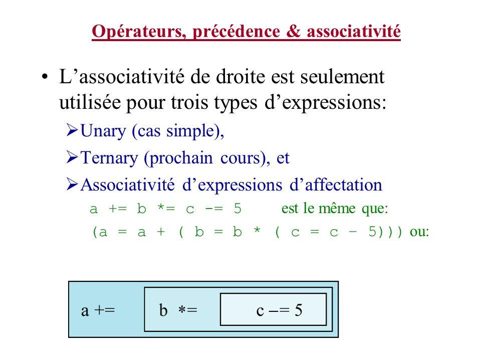 Opérateurs, précédence & associativité Lassociativité de droite est seulement utilisée pour trois types dexpressions: Unary (cas simple), Ternary (pro