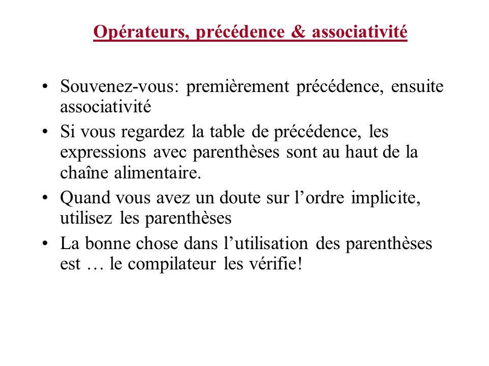 Opérateurs, précédence & associativité Souvenez-vous: premièrement précédence, ensuite associativité Si vous regardez la table de précédence, les expr