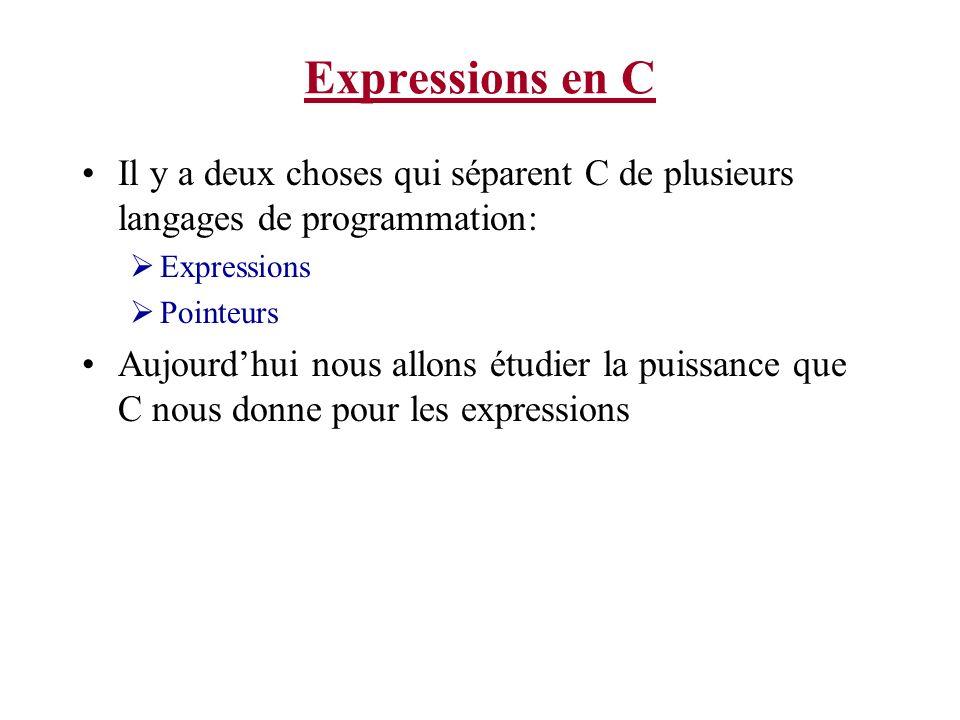 Expressions en C Il y a deux choses qui séparent C de plusieurs langages de programmation: Expressions Pointeurs Aujourdhui nous allons étudier la pui