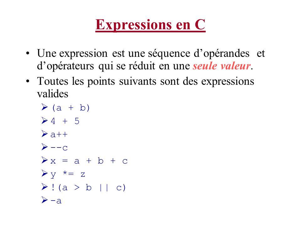 Expressions en C Une expression est une séquence dopérandes et dopérateurs qui se réduit en une seule valeur. Toutes les points suivants sont des expr