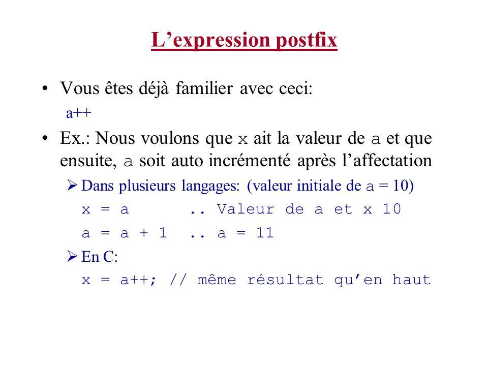 Lexpression postfix Vous êtes déjà familier avec ceci: a++ Ex.: Nous voulons que x ait la valeur de a et que ensuite, a soit auto incrémenté après laf