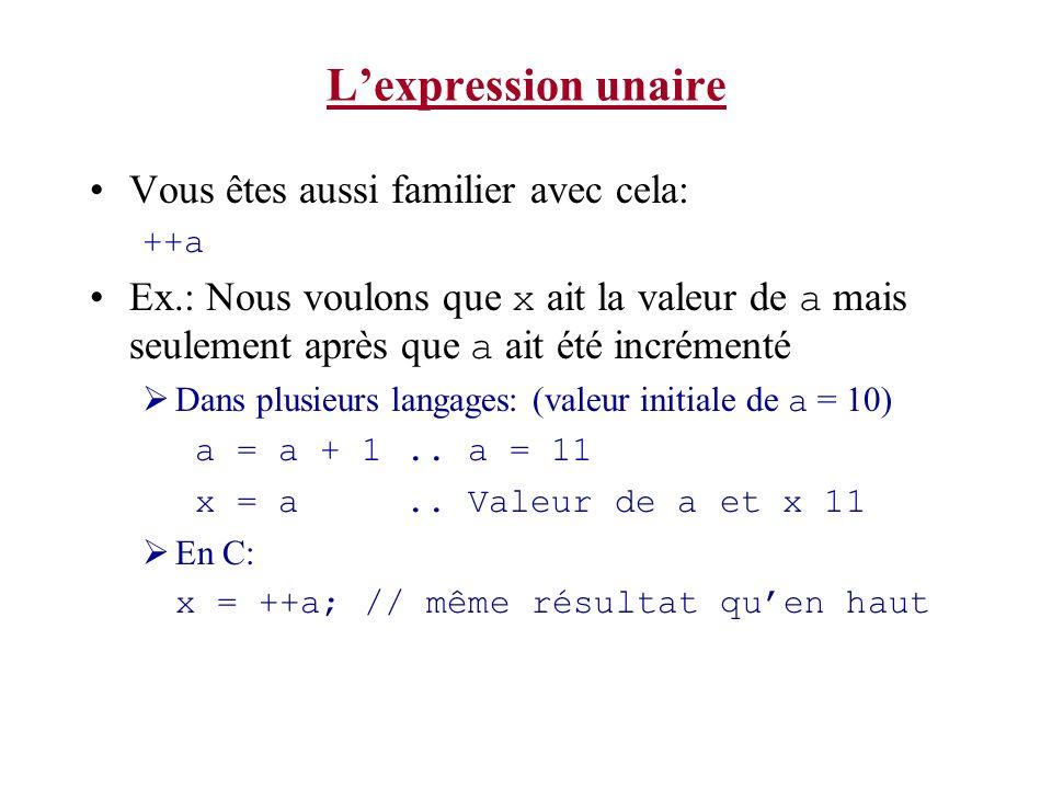 Notes sur les opérateurs int % modulo Retourne le reste de la division dentiers Ex: connaissant que 7/4 = 1 reste 3 7%4 retourne 3 7/4 retourne 1 Puissance: Il ny a pas dopérateurs de puissance en C ^ est un opérateur sur les bits ( XOR ) En MATLAB pour X 2 : x^2 En C pour X 2 on écrit : x * x Notez quil y a une fonction pow() dans