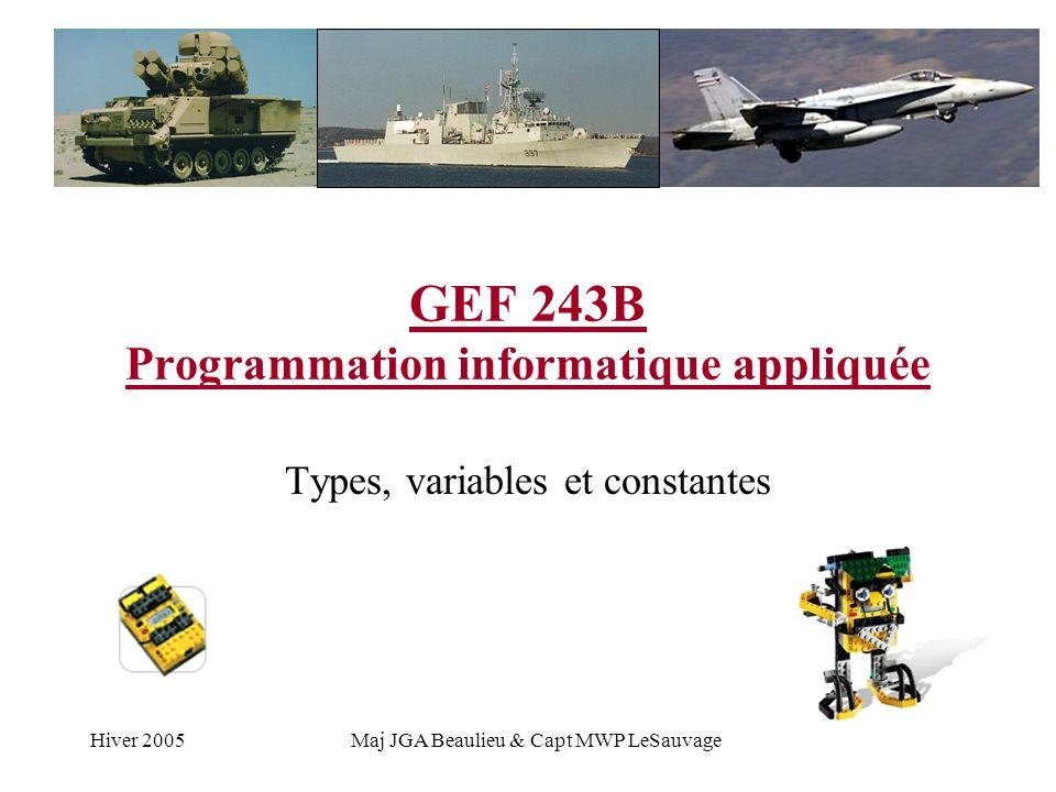 Hiver 2005Maj JGA Beaulieu & Capt MWP LeSauvage GEF 243B Programmation informatique appliquée Types, variables et constantes