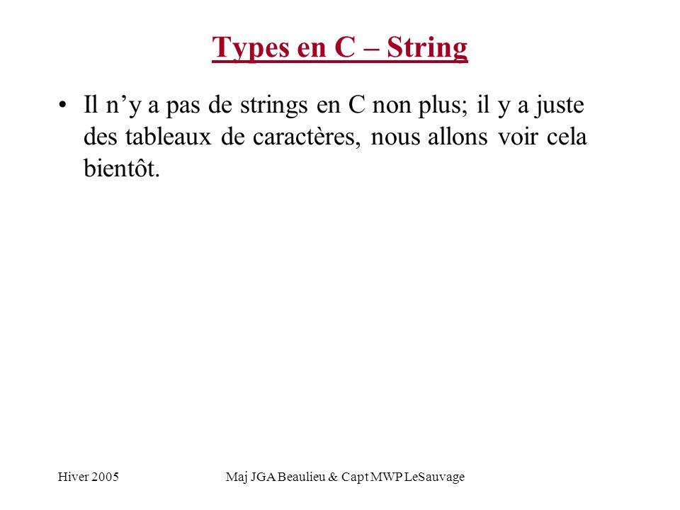 Hiver 2005Maj JGA Beaulieu & Capt MWP LeSauvage Types en C – String Il ny a pas de strings en C non plus; il y a juste des tableaux de caractères, nou