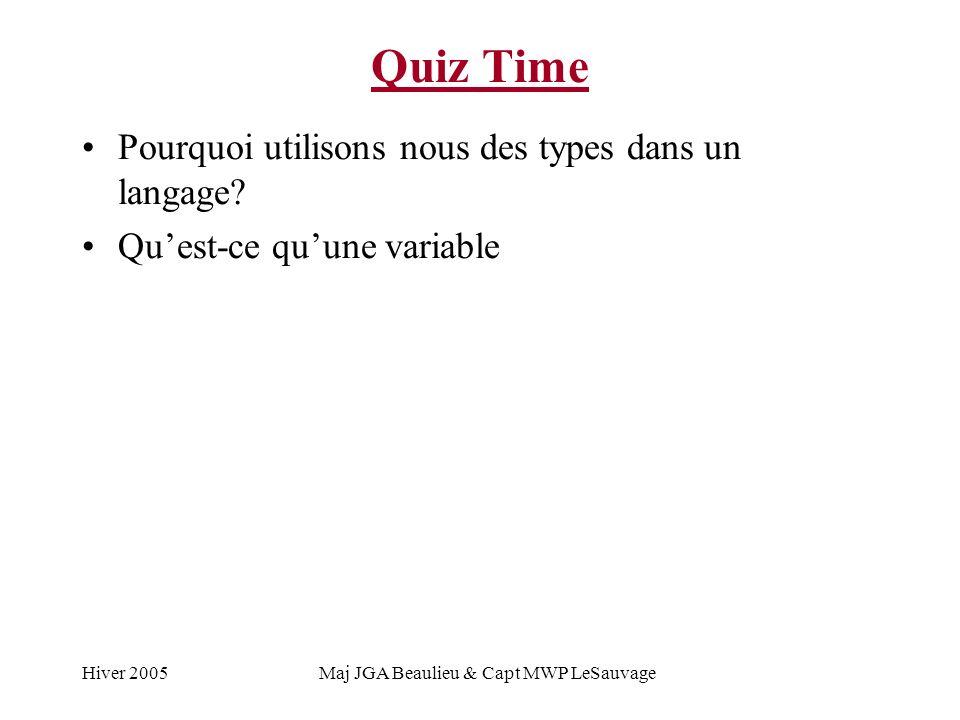 Hiver 2005Maj JGA Beaulieu & Capt MWP LeSauvage Quiz Time Pourquoi utilisons nous des types dans un langage? Quest-ce quune variable
