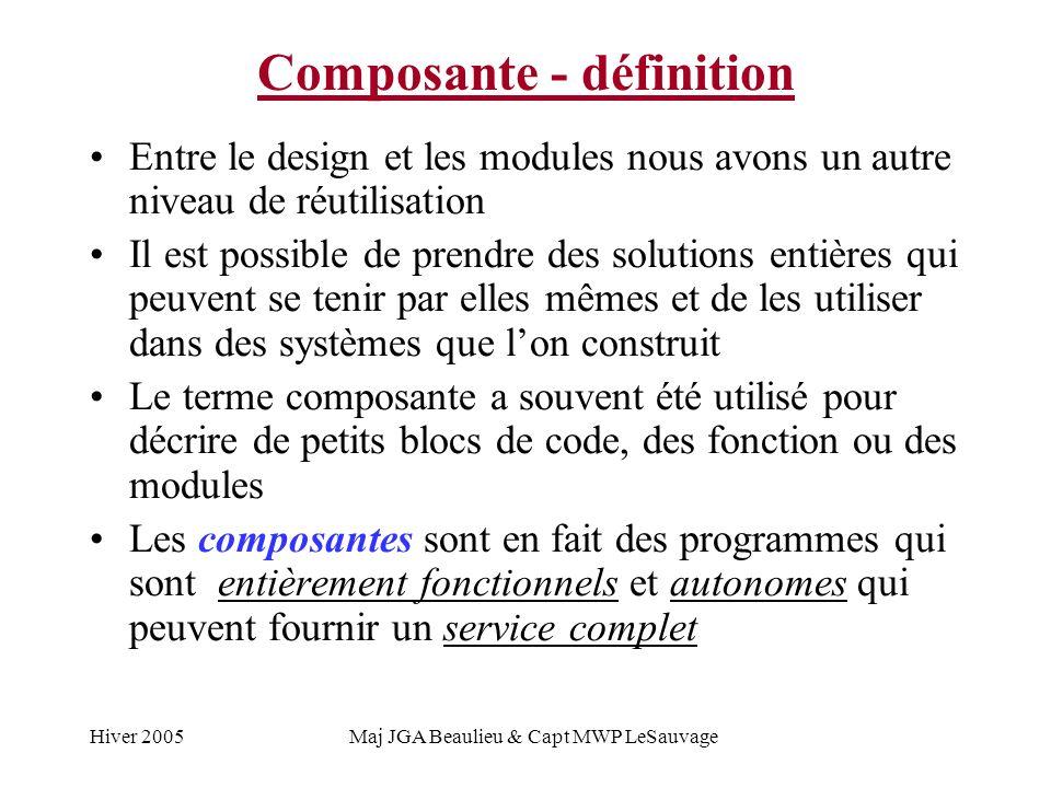Hiver 2005Maj JGA Beaulieu & Capt MWP LeSauvage Composante - définition Entre le design et les modules nous avons un autre niveau de réutilisation Il est possible de prendre des solutions entières qui peuvent se tenir par elles mêmes et de les utiliser dans des systèmes que lon construit Le terme composante a souvent été utilisé pour décrire de petits blocs de code, des fonction ou des modules Les composantes sont en fait des programmes qui sont entièrement fonctionnels et autonomes qui peuvent fournir un service complet