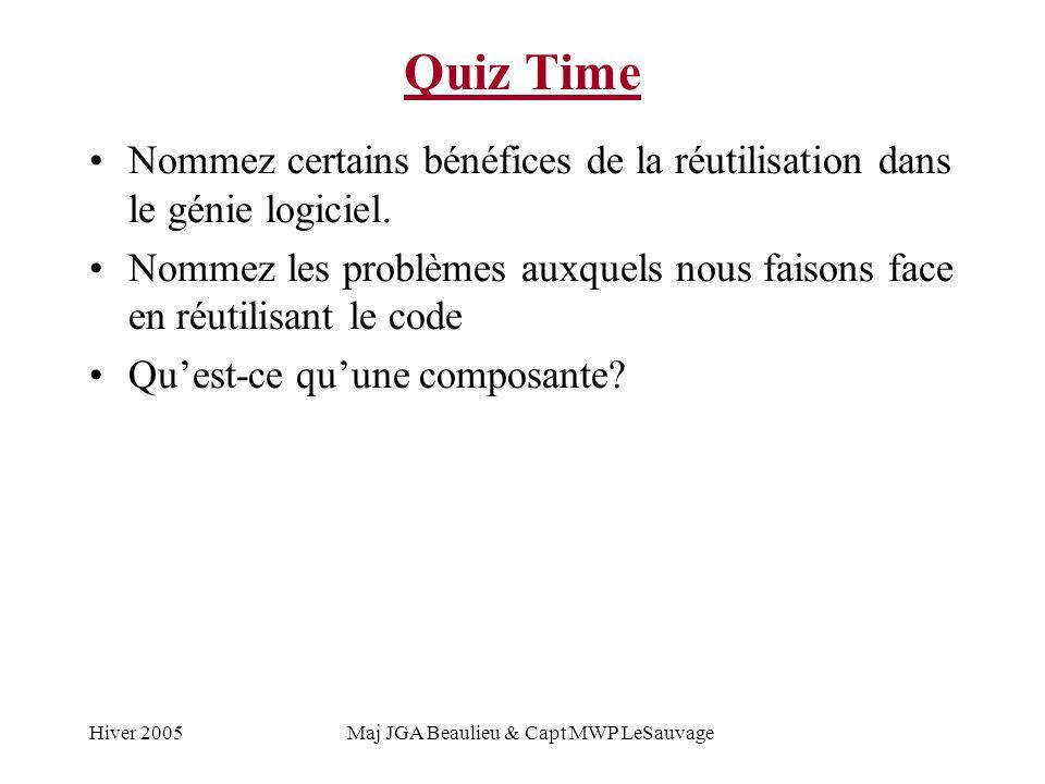 Hiver 2005Maj JGA Beaulieu & Capt MWP LeSauvage Quiz Time Nommez certains bénéfices de la réutilisation dans le génie logiciel.