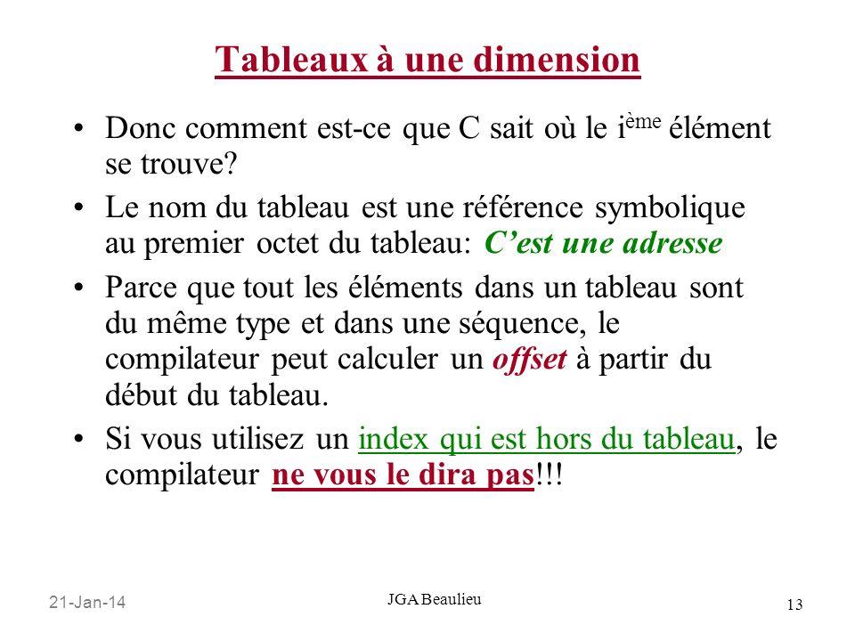 21-Jan-14 13 JGA Beaulieu Tableaux à une dimension Donc comment est-ce que C sait où le i ème élément se trouve? Le nom du tableau est une référence s