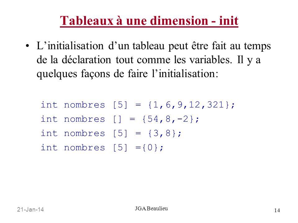 21-Jan-14 14 JGA Beaulieu Tableaux à une dimension - init Linitialisation dun tableau peut être fait au temps de la déclaration tout comme les variables.