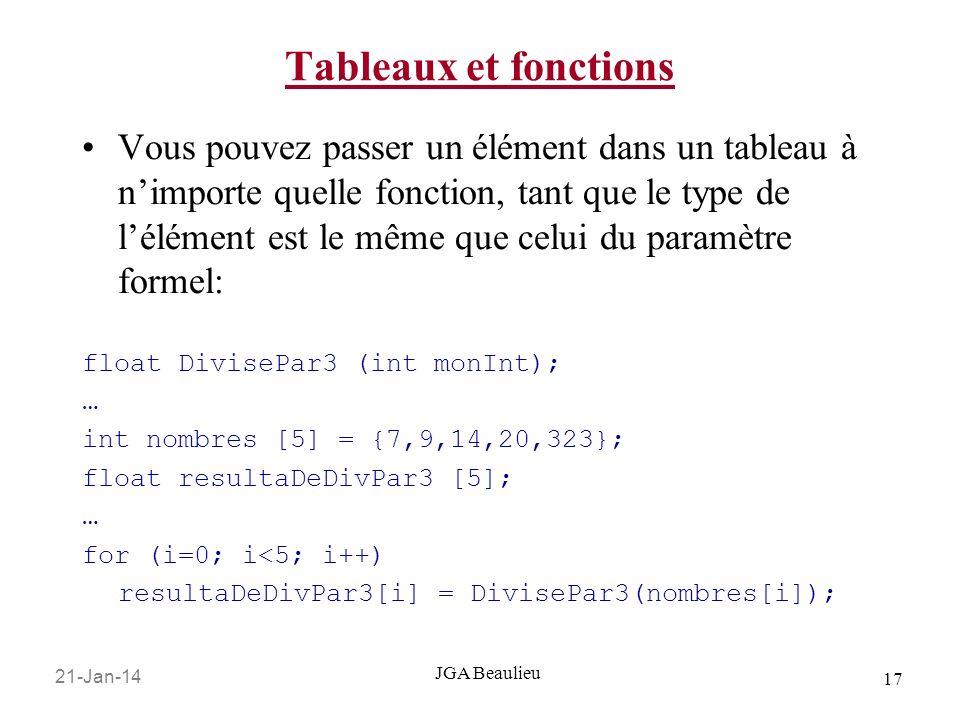 21-Jan-14 17 JGA Beaulieu Tableaux et fonctions Vous pouvez passer un élément dans un tableau à nimporte quelle fonction, tant que le type de lélément est le même que celui du paramètre formel: float DivisePar3 (int monInt); … int nombres [5] = {7,9,14,20,323}; float resultaDeDivPar3 [5]; … for (i=0; i<5; i++) resultaDeDivPar3[i] = DivisePar3(nombres[i]);