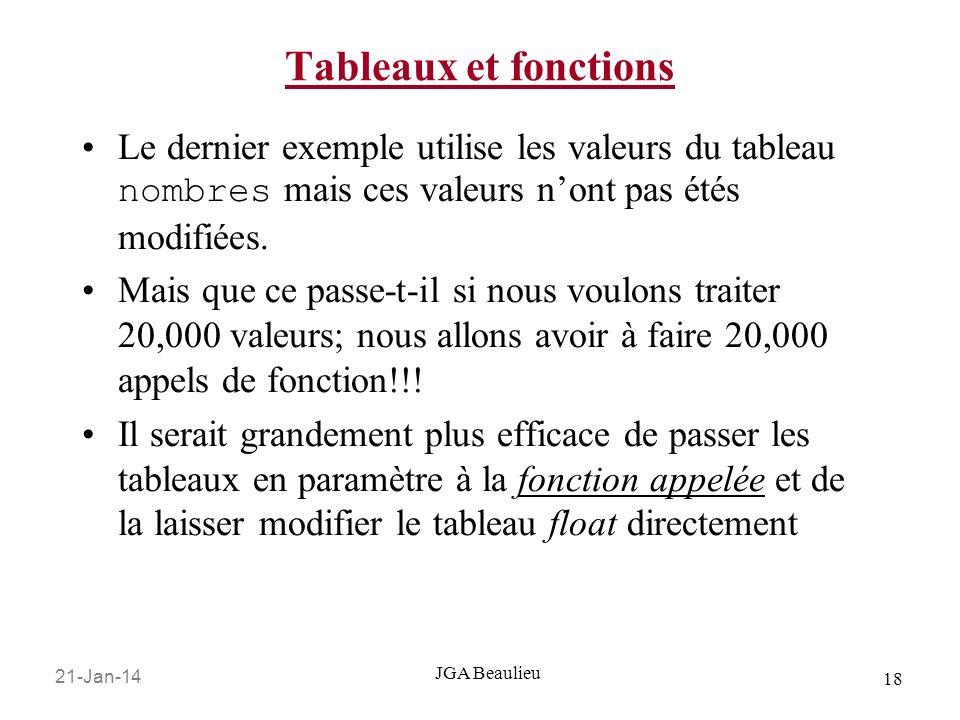 21-Jan-14 18 JGA Beaulieu Tableaux et fonctions Le dernier exemple utilise les valeurs du tableau nombres mais ces valeurs nont pas étés modifiées.
