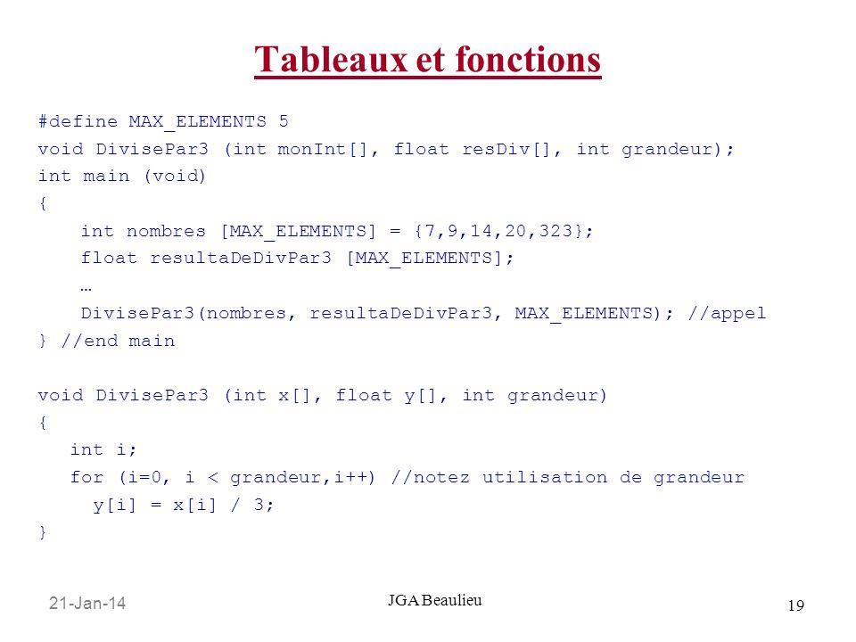 21-Jan-14 19 JGA Beaulieu Tableaux et fonctions #define MAX_ELEMENTS 5 void DivisePar3 (int monInt[], float resDiv[], int grandeur); int main (void) {