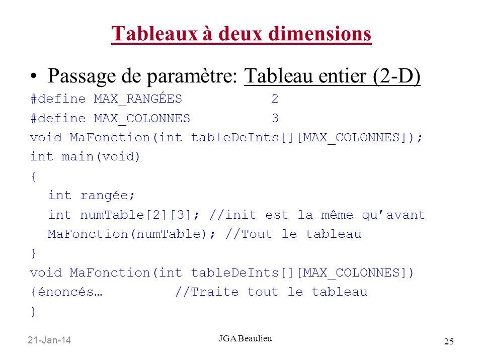 21-Jan-14 25 JGA Beaulieu Tableaux à deux dimensions Passage de paramètre: Tableau entier (2-D) #define MAX_RANGÉES 2 #define MAX_COLONNES 3 void MaFonction(int tableDeInts[][MAX_COLONNES]); int main(void) { int rangée; int numTable[2][3]; //init est la même quavant MaFonction(numTable); //Tout le tableau } void MaFonction(int tableDeInts[][MAX_COLONNES]) {énoncés… //Traite tout le tableau }