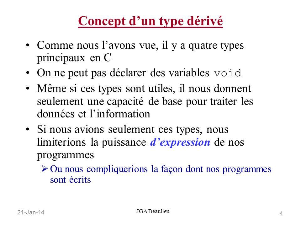 21-Jan-14 4 JGA Beaulieu Concept dun type dérivé Comme nous lavons vue, il y a quatre types principaux en C On ne peut pas déclarer des variables void
