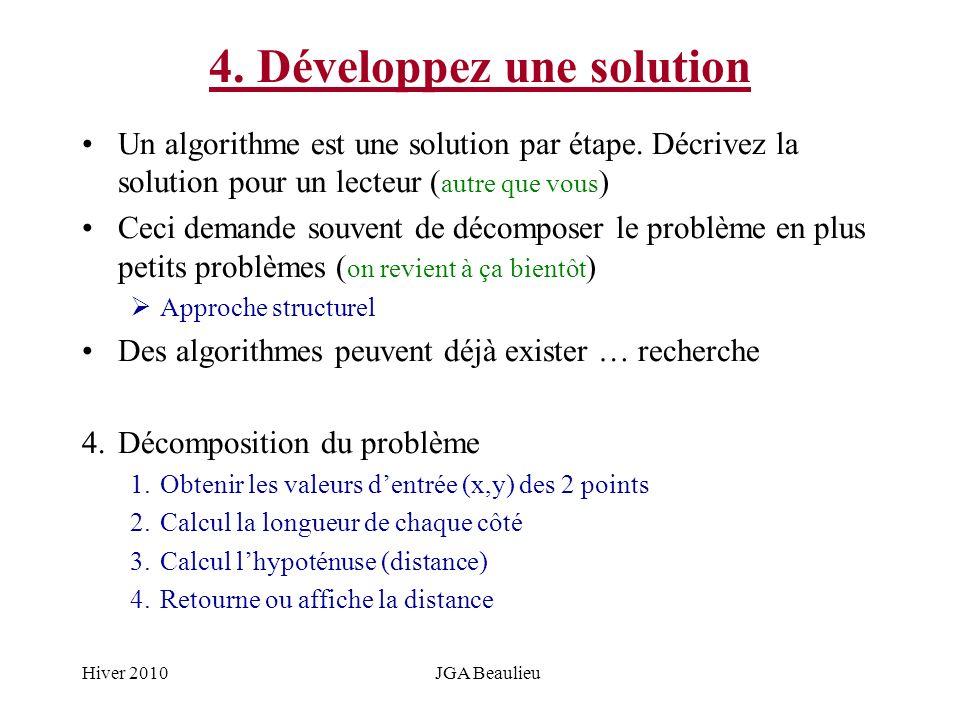 Hiver 2010JGA Beaulieu 4. Développez une solution Un algorithme est une solution par étape. Décrivez la solution pour un lecteur ( autre que vous ) Ce