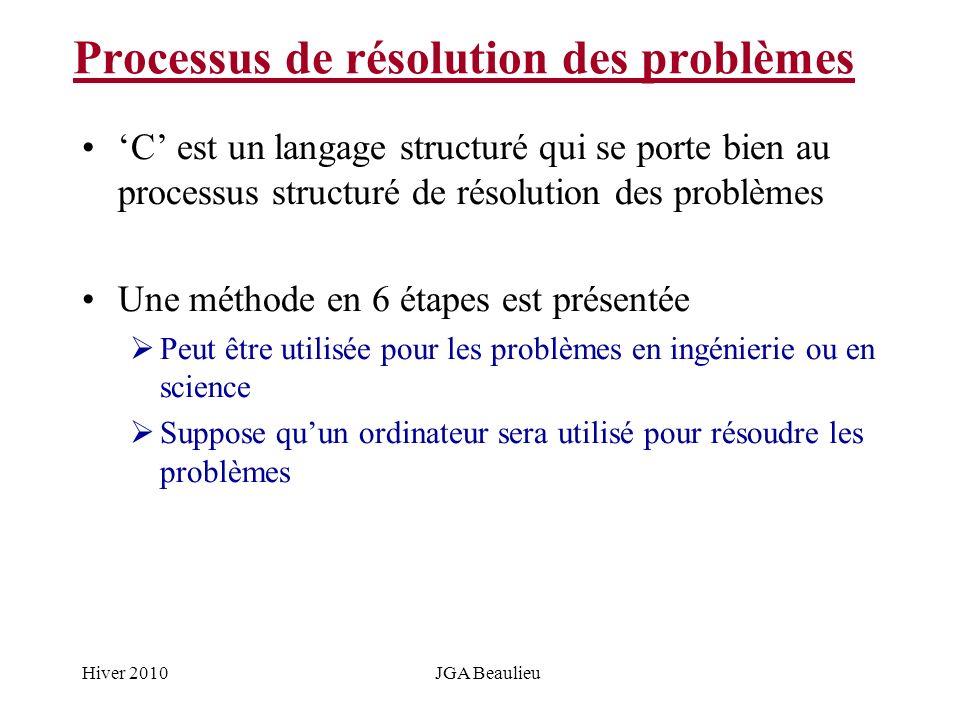 Hiver 2010JGA Beaulieu Processus de résolution des problèmes C est un langage structuré qui se porte bien au processus structuré de résolution des problèmes Une méthode en 6 étapes est présentée Peut être utilisée pour les problèmes en ingénierie ou en science Suppose quun ordinateur sera utilisé pour résoudre les problèmes