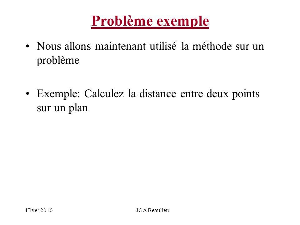 Hiver 2010JGA Beaulieu Problème exemple Nous allons maintenant utilisé la méthode sur un problème Exemple: Calculez la distance entre deux points sur un plan