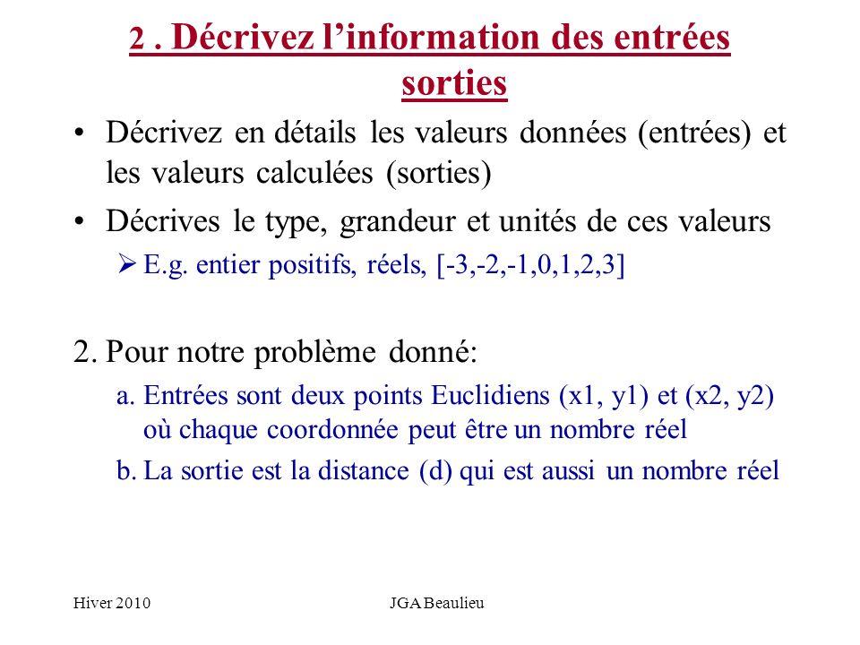 Hiver 2010JGA Beaulieu 2. Décrivez linformation des entrées sorties Décrivez en détails les valeurs données (entrées) et les valeurs calculées (sortie