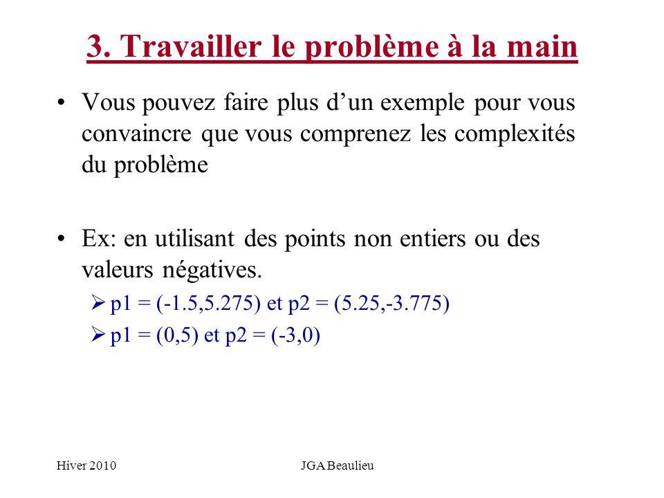 Hiver 2010JGA Beaulieu 3. Travailler le problème à la main Vous pouvez faire plus dun exemple pour vous convaincre que vous comprenez les complexités