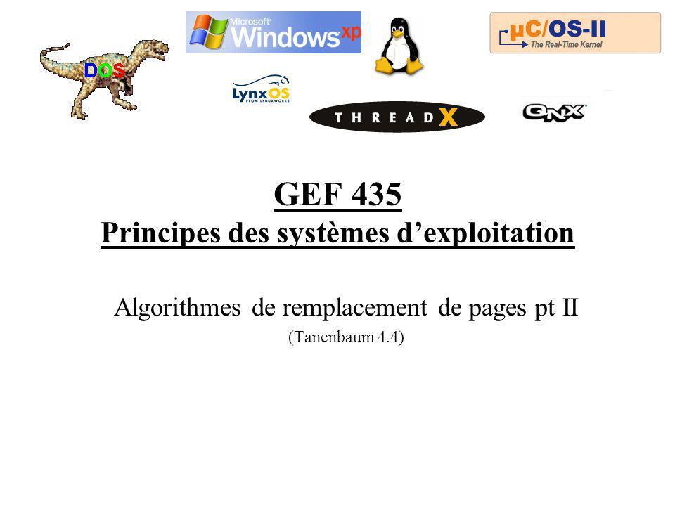 GEF 435 Principes des systèmes dexploitation Algorithmes de remplacement de pages pt II (Tanenbaum 4.4)