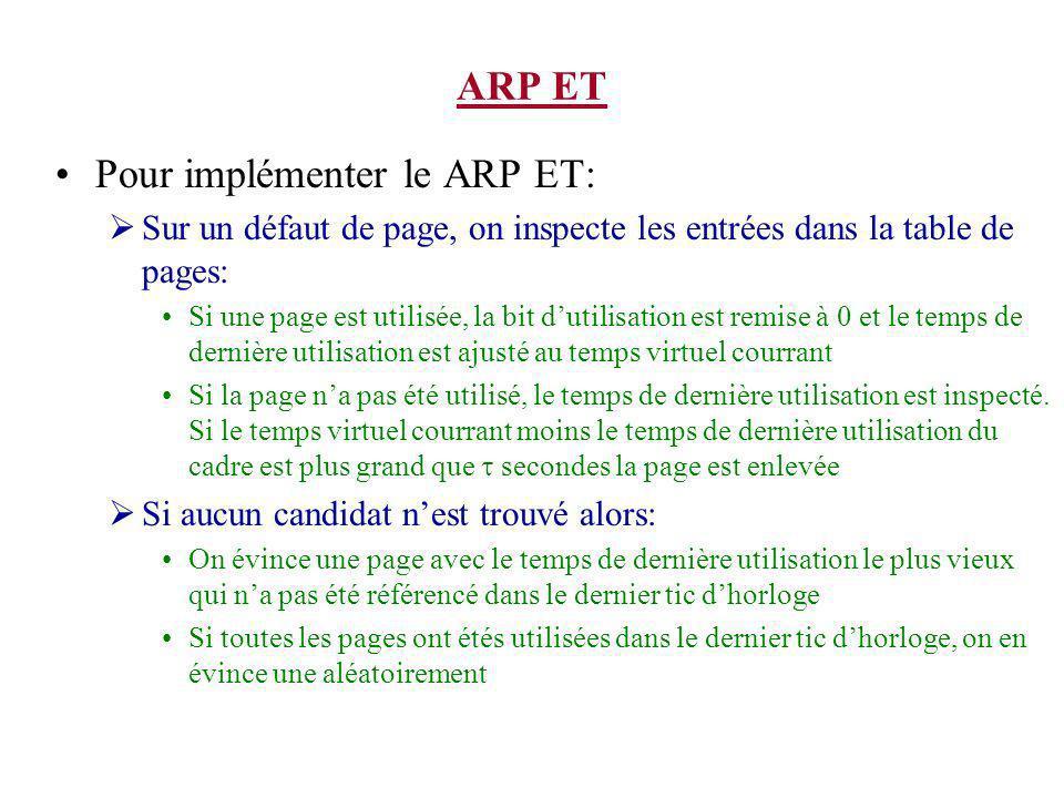 ARP ET Pour implémenter le ARP ET: Sur un défaut de page, on inspecte les entrées dans la table de pages: Si une page est utilisée, la bit dutilisation est remise à 0 et le temps de dernière utilisation est ajusté au temps virtuel courrant Si la page na pas été utilisé, le temps de dernière utilisation est inspecté.