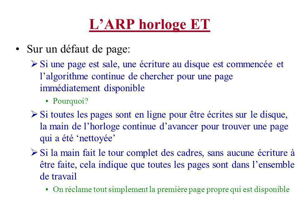 LARP horloge ET Sur un défaut de page: Si une page est sale, une écriture au disque est commencée et lalgorithme continue de chercher pour une page immédiatement disponible Pourquoi.