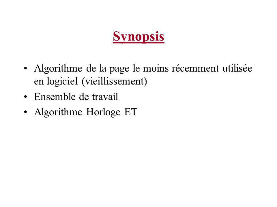 Synopsis Algorithme de la page le moins récemment utilisée en logiciel (vieillissement) Ensemble de travail Algorithme Horloge ET