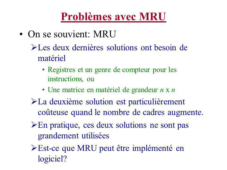 Problèmes avec MRU On se souvient: MRU Les deux dernières solutions ont besoin de matériel Registres et un genre de compteur pour les instructions, ou Une matrice en matériel de grandeur n x n La deuxième solution est particulièrement coûteuse quand le nombre de cadres augmente.