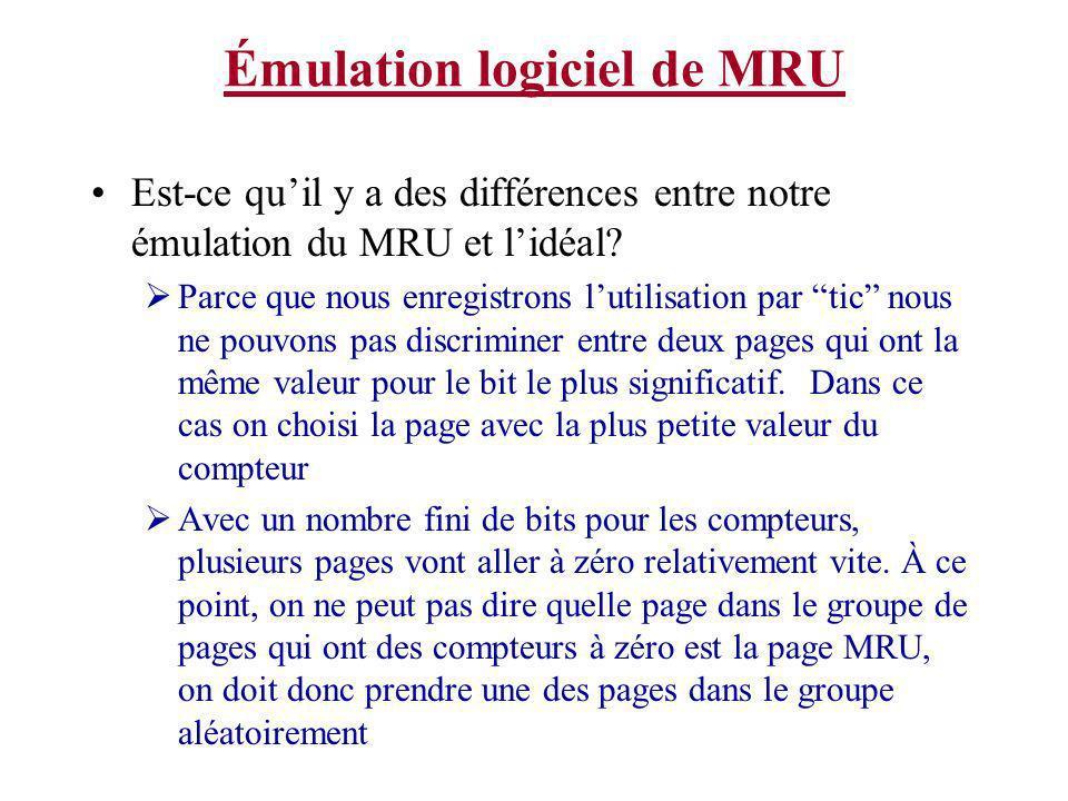Est-ce quil y a des différences entre notre émulation du MRU et lidéal? Parce que nous enregistrons lutilisation par tic nous ne pouvons pas discrimin
