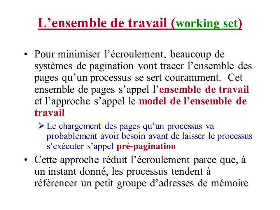 Lensemble de travail ( working set ) Pour minimiser lécroulement, beaucoup de systèmes de pagination vont tracer lensemble des pages quun processus se sert couramment.