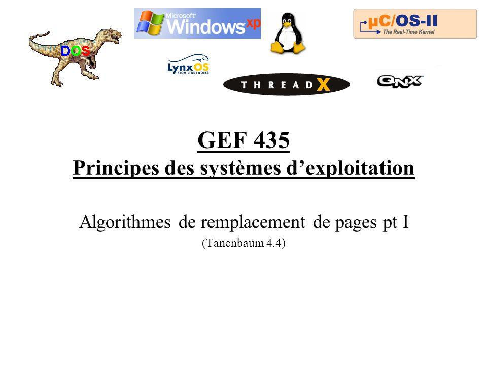 GEF 435 Principes des systèmes dexploitation Algorithmes de remplacement de pages pt I (Tanenbaum 4.4)