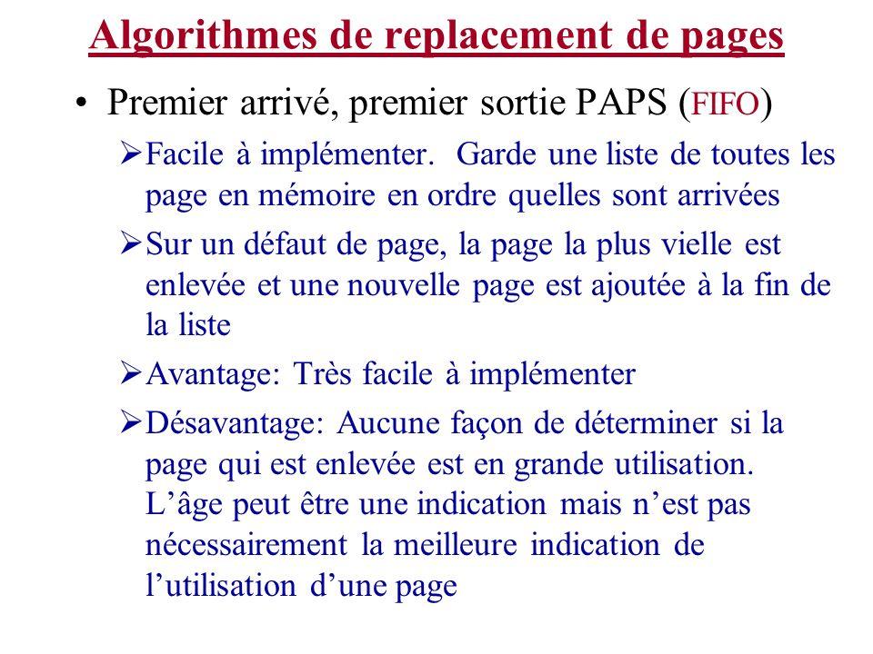 Algorithmes de replacement de pages Premier arrivé, premier sortie PAPS ( FIFO ) Facile à implémenter. Garde une liste de toutes les page en mémoire e