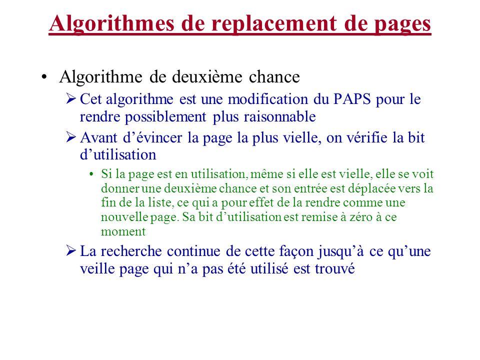 Algorithmes de replacement de pages Algorithme de deuxième chance Cet algorithme est une modification du PAPS pour le rendre possiblement plus raisonn