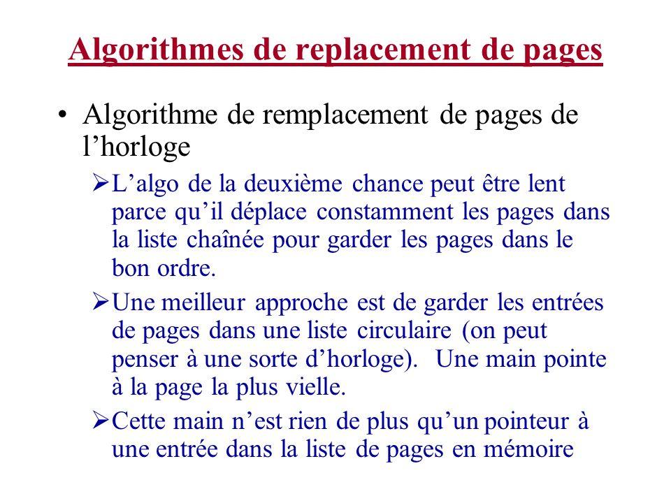 Algorithmes de replacement de pages Algorithme de remplacement de pages de lhorloge Lalgo de la deuxième chance peut être lent parce quil déplace cons