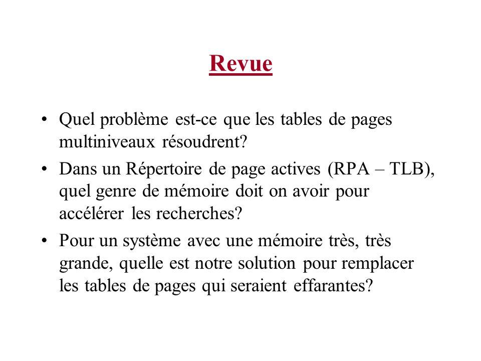 Revue Quel problème est-ce que les tables de pages multiniveaux résoudrent? Dans un Répertoire de page actives (RPA – TLB), quel genre de mémoire doit