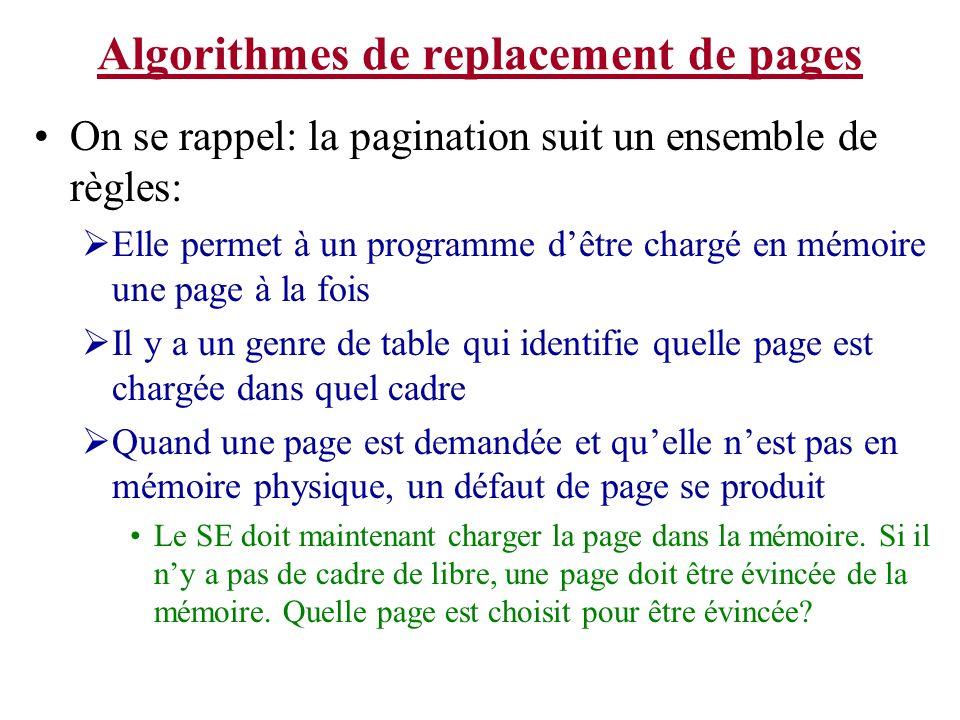 Algorithmes de replacement de pages On se rappel: la pagination suit un ensemble de règles: Elle permet à un programme dêtre chargé en mémoire une pag