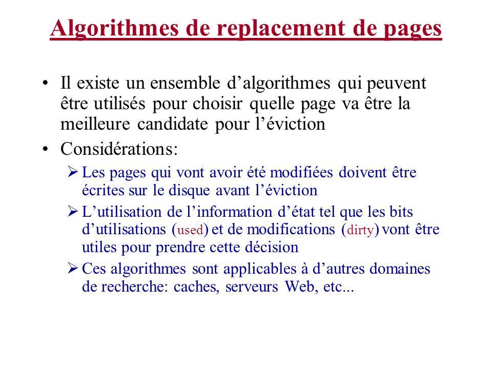 Algorithmes de replacement de pages Il existe un ensemble dalgorithmes qui peuvent être utilisés pour choisir quelle page va être la meilleure candida
