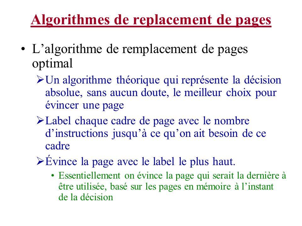 Algorithmes de replacement de pages Lalgorithme de remplacement de pages optimal Un algorithme théorique qui représente la décision absolue, sans aucu